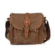 Retro Canvas Casual Messenger Bags Men Shoulder Bags for Travelling Outdoor School - Coffee