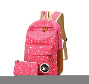 KingFly Teenager Girls Boys School Bag Star Pattern Backpack Rucksack With Pen Case