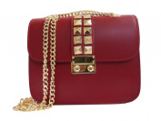 handbag in smooth leather with studs