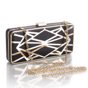 WILLTOP Metal Frame Abatract Pattern Magnet Clasp Drop-In Chain Evening Clutch