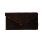 Women's Coffee Brown Suede Envelope Clutch Bag