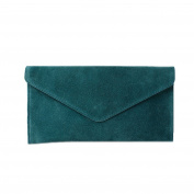 Women's Emerald Suede Envelope Clutch Bag