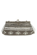 MyBatua Emily Grey & Silver Brass Frame Glass Beaded Evening Bag ACP-454