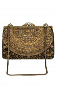 Ava Black & Gold Brass Frame Handbag Party Wear Clutch ACP-445
