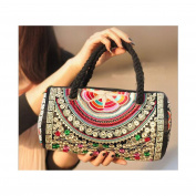 Chinese National Style Embroidered Small Handbag Single-shoulder Bag Bucket Bag silver and white zamioculcas zamiifolia