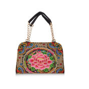 Fashionble Vintage Big Brand Chinese Style National Embroidery Three Dimensional Handbag Messenger Bag Chains