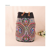 National Bag Fashionable Stylish Shoulders Bag Multi-functional Travel Bag Embroidery National Style Schoolbag Coins tree flowers
