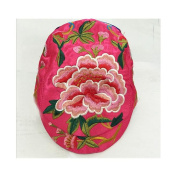 New Fashionable Embroidery Cap National Style Yang Liping Peaked Cap Peony rose red