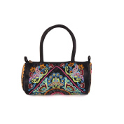 Yunnan National Bag Embroidered Bag Featured Round Pipe Shape Pillow Shape Single-shoulder Bag Handbag satin face butterfly