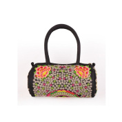Yunnan National Bag Embroidered Bag Featured Round Pipe Shape Pillow Shape Single-shoulder Bag Handbag zamioculcas zamiifolia and flower