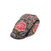 Yunnan National Style Embroidery Woman Peaked Cap New Autumn Winter Yang Liping Peaked Cap Androsace Carnea black