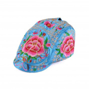 Yunnan National Style Embroidery Woman Peaked Cap New Autumn Winter Yang Liping Peaked Cap Androsace Carnea blue