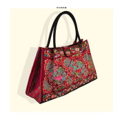 Bohemian Woman's Bag National Style Embroidery Single-shoulder Bag Embroidery Handbag Big Bag Factory(Big Szie) red base cloud