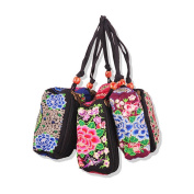 Embrioidery Bag National Three Zippers Mobile Phone Bag Featured Embroidery Handbag Coin Case