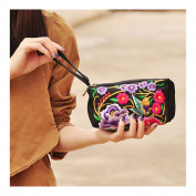 National Style Miao Embroidery Bulk Three Rows Zipper Small Bag Coin Case Mobile Phone Bag