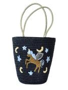 Tonwhar® Simple Fashion Straw Woven Bag Horse Embroidery Straw Beach Tote