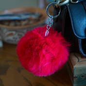 3 for 2 Sale! Red 10cm Faux Vegan Fur ECO Pompom Keyring Keychain Handbag Charm Silver Chain Black Red Turquoise Furry Friends Decoration Dangle Cute Gift Present Soft Fluffy Fluff Ball Pokemon Style Stylish Unique Large Big Massive Oversized Trend Fuz ..