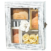 White Rose Jasmine Spa Gift Set in Distress Wood Curio,190ml Body Lotion,190ml Shower Gel,120g Bath Salts, 6 White Rose Soap, Puff