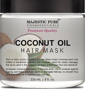 Coconut Oil Hair Mask From Majestic Pure Offers Natural Hair Care Treatment, Hydrating & Restorative Mask Restores Shine, Nourishes Scalp & Provides Deep Conditioning for Dry & Damaged Hair, 260ml