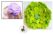 Large Peony Flower Hair Clip Barrette Pin + Apple Green