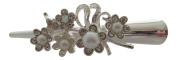 Small Smooth Silver Tone Diamante and Faux Pearl Flower Beak Clip / Flower Crocodile Clip