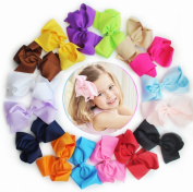 16pcs Boutique Girls 13cm - 14cm Big Hair Clips Grosgrain Ribbon Pinwheel Hair Bow Clips Children Hair Clips Girls Clips