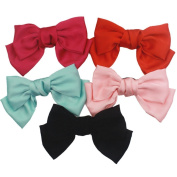 5 Pcs Large Big Huge 20cm Soft Silky Hair Bow Clip Lolita Party Oversize Handmade Girl French Barrette Style Hair Clips