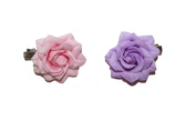BEAUTIFUL X2 LILAC AND BABY PINK SMALL FABRIC ROSE HAIR CLIPS - FESTIVALS 50s BURLESQUE FLOWER SLIDE DANCE