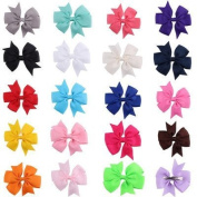 HOT QUEEN 20 pcs Girls'Hair bows Children Clip Grosgrain Ribbon Hair accessories 20 colours 2016
