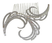 Pick A Gem Bridal Wedding Prom Vintage Art Deco Gatsby Style Silver. Crystal Hair Slide Comb