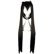 MeiruiHair Black Long Straight Cosplay Hair Wig on 2 Ponytails Nakano Azusa of K-on! Wig