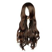 MeiruiHair 25.6inch/65cm Women's Dark Brown Long Curly Wavy Hair Fashion Wig No.6-inukashi Cosplay Wigs