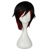 MeiruiHair Cosplay Wigs Halloween RWBY Ruby Rose Black Red Short Party Anime Hair