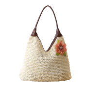 UNIMM Women Casual Countryside Style Flower Straw Sea Beach Tote Handbag Shouder Bag White