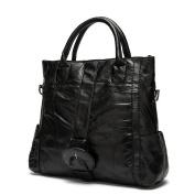 LQT Women's Fashion Retro Sheep Leather Shoulder Bag Handbag Tote Cross-Body Bag Top-Handle Bag Casual Bag Casual Daypack Genuine Leather Bag Black