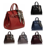 GetThatBag® Womens Phoebe - Ostrich Patent Birkin Bag Padlock Tote Handbag Navy Blue / Black / Brown / Nude / Burgundy Wine Red With FREE Leopard Design Scarf