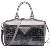 SAIERLONG New Womens Silvery Grey Cowhide Genuine Leather Handbags Shoulder Bags
