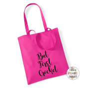 But First Crochet 100% Cotton Tote Bag Project Yarn Gift Present