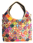 S-Kiven Women's Multicolour Flower Stripe Genuine Leather Top Handle Tote Stitching Handbag lady's Hobos and Shoulder Cross-body Bags Messenger Bag