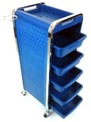 Salon Storage Trolley - Blue - Hairdresser Barber Hair Beauty Drawers Spa Cart