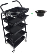 Teknoh 4 - Salon Storage Trolley - Black - ****with Free Colour Mixing Tint Bowl**** - Hairdresser Barber Hair Beauty Drawers Spa Cart - No.4
