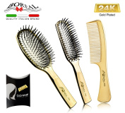 Set 3 pieces luxury brushes. 24 carat gold plating. 2 pneumatic brushes with plastic pins and comb. Great gift idea for women. Wet, dry, smooth curly hair. 100% made in Italy.