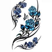 Velishy(TM) Rose Butterfly Sexy Elegant Waterproof Tattoo Sticker Body Art Sticker