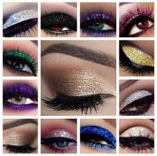 Glitter Eyes Set 2 - 10 X Glitter Pots Fix Gel & Brush Loose Glitter Eye Shadow