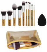 BS-MALL(TM) 11 Piece Makeup Brush Set Bamboo Wooden Blush Foundation Eyeshadow Eyeliner Bronzer Makeup Cosmetic Brushes Set Plus 1 Piece Makeup Sponges