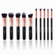 Qivange Makeup Brushes, Premium Synthetic Kabuki Make-up Brush Set Foundation Eyeshadow Blush Concealer Powder Brush Kit + Pouch