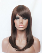 Hmy Medium Length Brown Straight Synthetic Hair Full Wig for Black Women