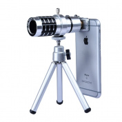 Apexel 12x Manual Focus Telephoto Camera Lens Kit with Mini Tripod and Universal Clip for Smartphone - Silver