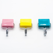 Alohha All-Purpose Kitchen Strong Magnetic Hooks for Keys,Coat,Fridge and Doors with Pink,Yellow,Blue Colour 3 Pack