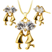 Couples Dance Crystal Pendants Necklace Earrings 18K Gold Plated Jewellery Set For Women S20123
